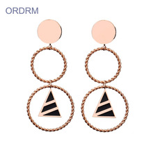 Holiday sales for Rose Gold Hoop Earrings Fashion Double Drop Hoop Earrings For Women export to Italy Wholesale