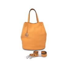 Stylish Fashion Drawstring Genuine Girls Bucket Leather Bag