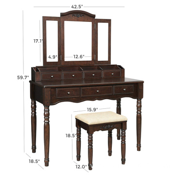 Walnut Vanity Table with Tri-Folding Mirror, 7 Drawers, 6 Organizers Dresser Makeup Table Dressing Table Set