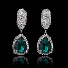 Green Crystal Rhinestone Dangles Earrings Jewelry