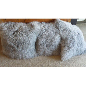 Tibetan Lamb Fur Pillow Single Sided Fur Many Colors