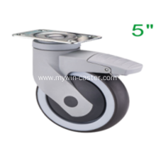 5 Inch Plate Swivel TPR PP Material With Bracket Medical Caster