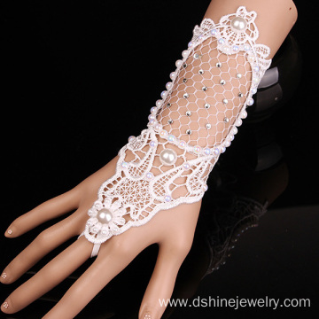 China for China factory of Lace Bracelet, Flower Lace Bracelet, Lace Cuff Bracelet White Lace Pearl Bracelet For Wedding With Ring Set supply to Bangladesh Factory