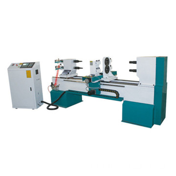 cnc wood lathe with double spindle