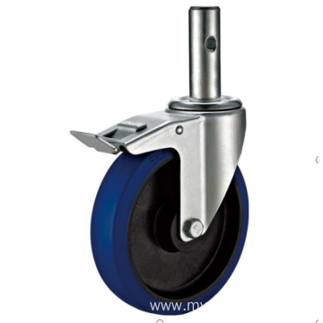100mm threaded stem   European industrial rubber  swivel caster with brake