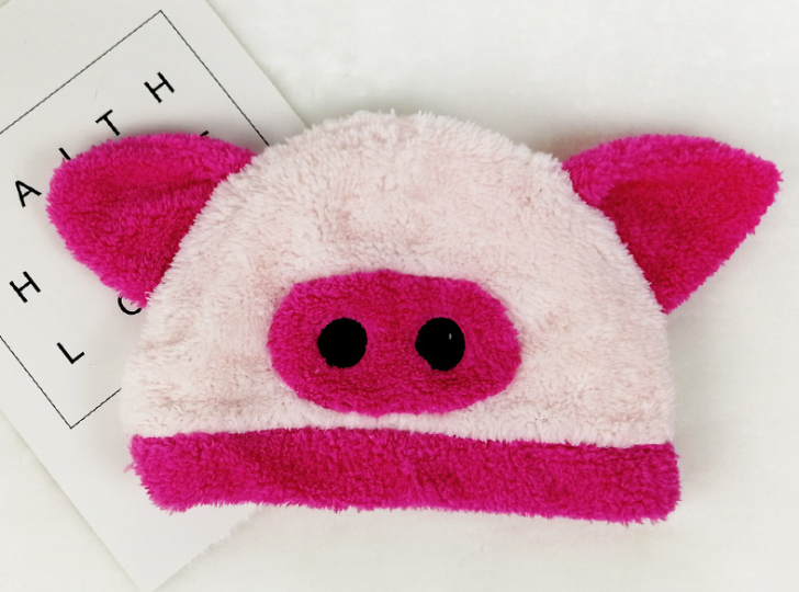 Cute Animal Fleece Hat Pig