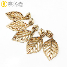Shiny golden leaf metal zipper slider for clothes