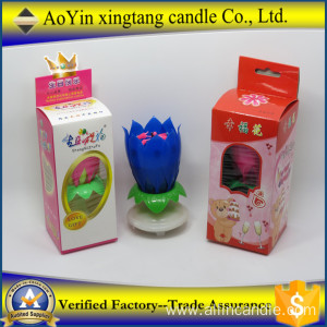 Popular Fireworks Lotus Rotating Birthday Music Candle