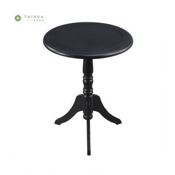 Round Black Buong Solid Wood CoffeTable