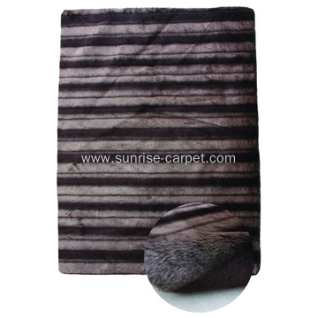 Faux Fur Shagy Rug with design