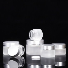 Frosted Glass Cream Jars with Aluminum Cap