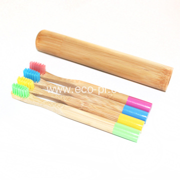 Customized Logo Charcoal Bristle Bamboo Toothbrush Tube Set