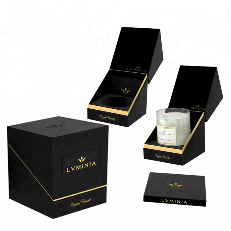 Black Luxury Rigid Paper Cardboard Candle Gift Box