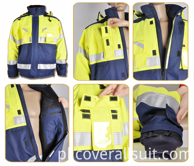 fire retardant safety reflective work jacket