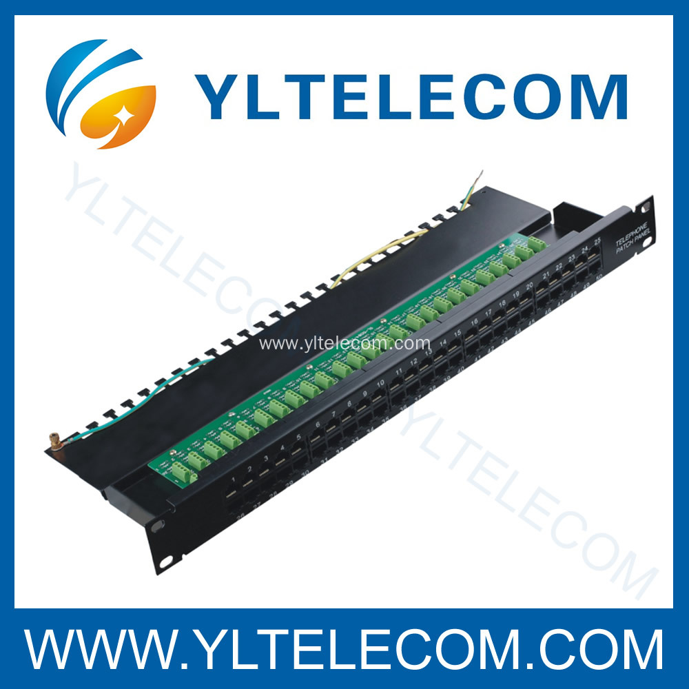 Cat.3 Voice Patch Panel 50port with Earth Line