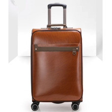 Brown universal wheel PU luggage office set