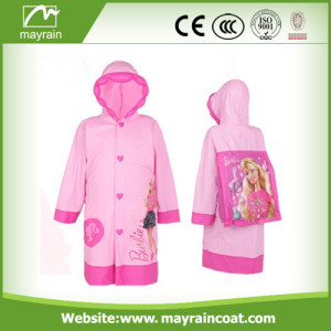 Pink PVC Raincoat With Printing