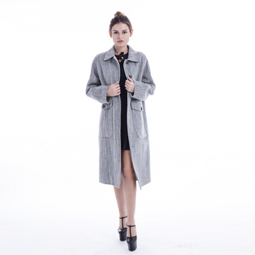 Fashionable light grey cashmere overcoat