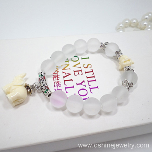 Nature Matte Crystal Beads Bracelet With Elephant Pendant