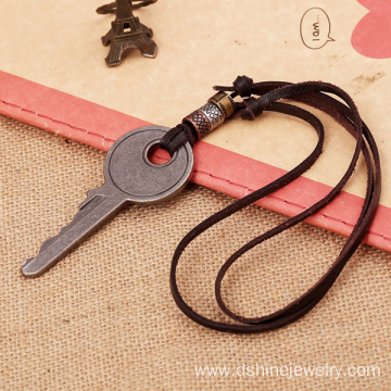Real Leather Necklace Key Chaped Mens Charms For Necklaces
