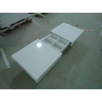 Modern white high gloss extension coffee table