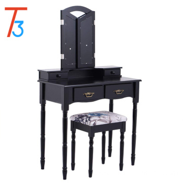 Tri Folding Mirror Black Vanity Makeup Table Stool Set Home Drawers