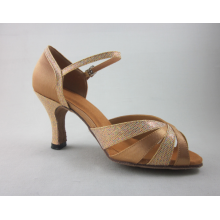 Flesh satin salsa shoes womens