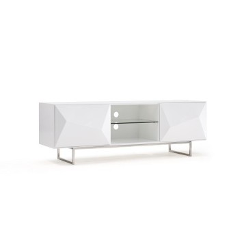 ODM for White Lacquer TV Cabinet Modern white TV stand for living room export to Spain Supplier