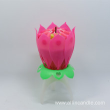 6x13cm Not Rotating Lotus Shape Birthday Cake Candle