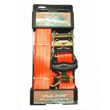 "2"" 2T Packaged Ratchet Tie Down Red Lashing Strap"