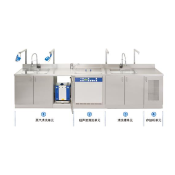 Stainless steel cleaning workstations