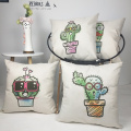 Set of Cactus Throw Pillow Covers Cute Plants Summer Decorative Cushion Cover Pillow Case for Sofa Bedroom Car Couch 18 x 18 Inc