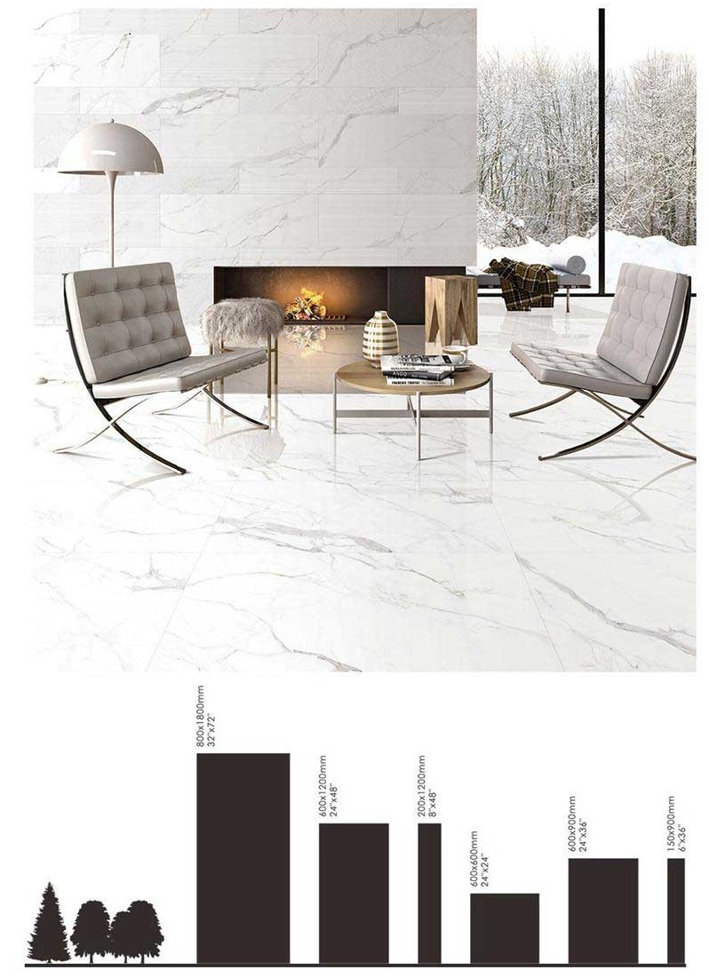white marble look ceramic tile