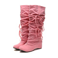 Students Poine Toe Faus Leather Knee High Boots