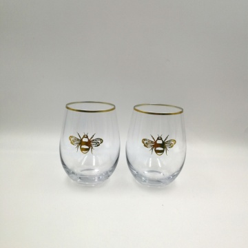 Gold Bee pattern decorate stemless glass for candle