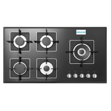 Black Glass Gas Hob 5 Burner In Belgium