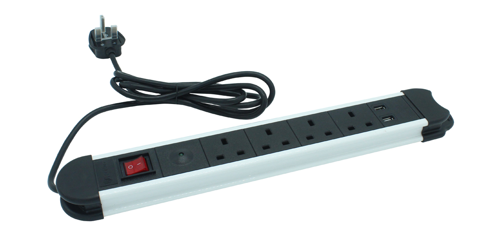 British Power Strip with Surge Protection