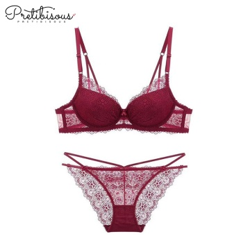 Sexy womens transparent lace bra panty set