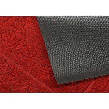Embossed velour polyester floor mat with pattern