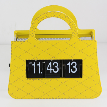 Yellow Handbag Flip Clock For Decor