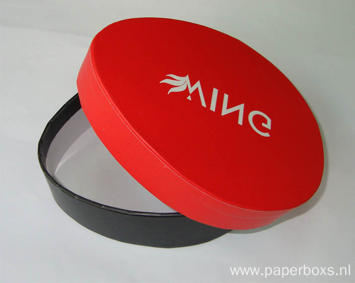 coated round paper box with printing