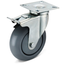 PU Flat Bottom Movable Double Brake Casters
