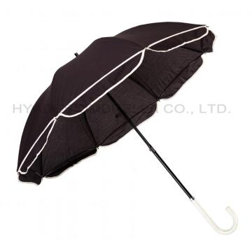 Women's Straight Umbrella With Scallop Edge