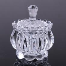 Wholesale Hot Sale Lovely Crystal Glass Sugar Bowl  Candy Jar With Lid