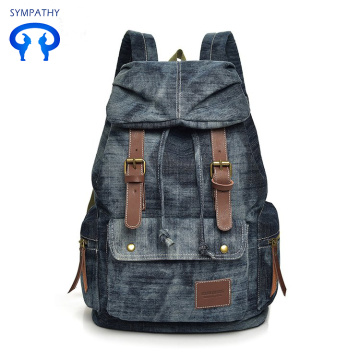 New denim backpack for leisure backpack students