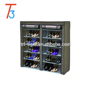 2 Door Dustproof Portable Clothes Shoe Rack Organizer With Cover, 6 Tier Shoe Tower Rack Cabinet