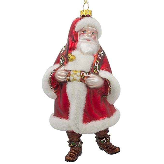 Hand Painted Customized Glass Santa Claus Christmas Ornament