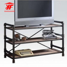 Simple Black Small TV Table with 3 Shelves