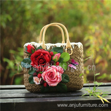 2017 new fashion handbag natural color small straw beach bags for women