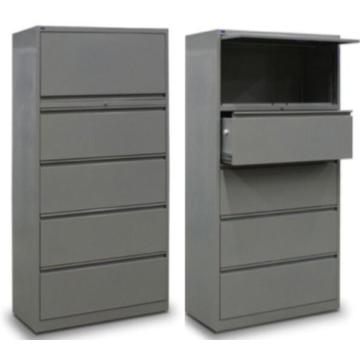 Top retractile drawer lateral file cabinet